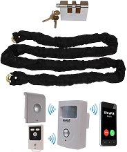 Chain & Lock with Battery Powered GSM PIR Alarm