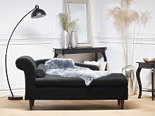 Chaise Lounge Black Velvet Upholstery with Storage