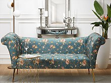 Chaise Lounge Blue Fabric Upholstery Tufted Double