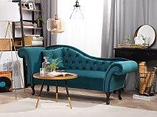 Chaise Lounge Blue Velvet Button Tufted Upholstery