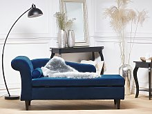 Chaise Lounge Blue Velvet Upholstery with Storage