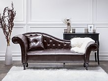 Chaise Lounge Brown Faux Leather Button Tufted