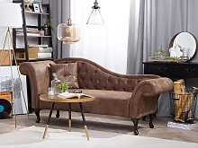 Chaise Lounge Brown Faux Suede Button Tufted