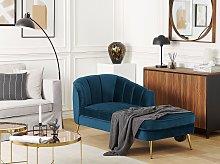 Chaise Lounge Cobalt Blue Velvet Upholstery Gold