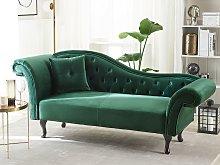 Chaise Lounge Dark Green Velvet Button Tufted