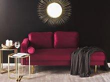 Chaise Lounge Dark Red Velvet Upholstered Left