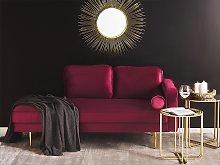 Chaise Lounge Dark Red Velvet Upholstered Right