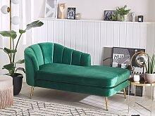 Chaise Lounge Emerald Green Velvet Upholstery Gold