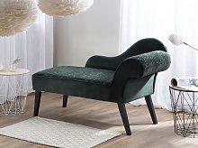 Chaise Lounge Green Velvet Upholstery Dark Wood