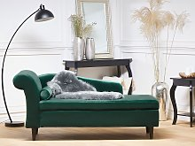Chaise Lounge Green Velvet Upholstery with Storage