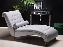 Chaise Lounge Grey Fabric Chesterfield Buttoned