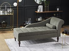 Chaise Lounge Grey Fabric Upholstery Black Legs