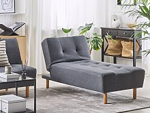 Chaise Lounge Grey Fabric Upholstery Light Wood