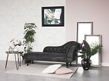 Chaise Lounge Grey Right Hand Faux Suede Buttoned