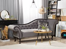 Chaise Lounge Grey Velvet Button Tufted Upholstery