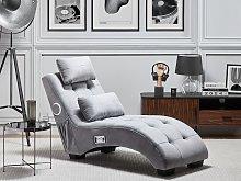 Chaise Lounge Grey Velvet Inbuilt Bluetooth