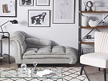 Chaise Lounge Grey Velvet Upholstery Biscuit