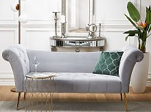 Chaise Lounge Grey Velvet Upholstery Tufted Double