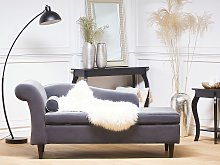 Chaise Lounge Grey Velvet Upholstery with Storage