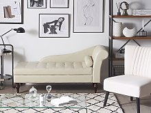 Chaise Lounge Light Beige Faux Leather Upholstery