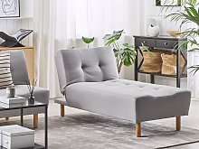 Chaise Lounge Light Grey Fabric Upholstery Light