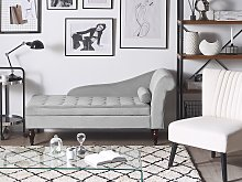 Chaise Lounge Light Grey Velvet Upholstery Black