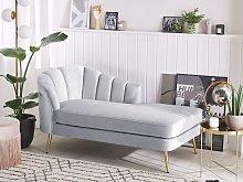 Chaise Lounge Light Grey Velvet Upholstery Gold