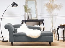 Chaise Lounge Light Grey Velvet Upholstery with