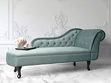 Chaise Lounge Mint Green Right Hand Velvet Buttoned