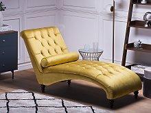 Chaise Lounge Mustard Yellow Velvet Chesterfield