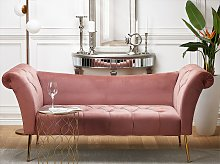 Chaise Lounge Pink Velvet Upholstery Tufted Double