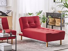 Chaise Lounge Red Fabric Upholstery Light Wood