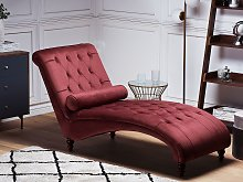 Chaise Lounge Red Velvet Chesterfield Buttoned