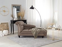 Chaise Lounge Taupe Polyester Upholstery Biscuit