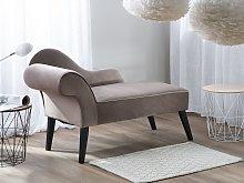 Chaise Lounge Taupe Velvet Upholstery Dark Wood