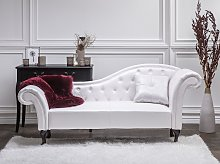 Chaise Lounge White Faux Leather Button Tufted