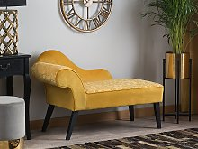 Chaise Lounge Yellow Fabric Upholstery Dark Wood