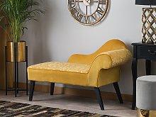 Chaise Lounge Yellow Velvet Upholstery Dark Wood
