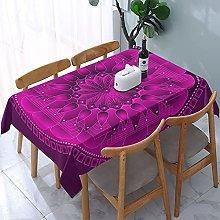 Chakra Mandala Magenta Tablecloth,Rectangular