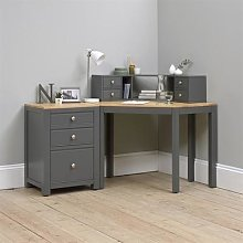 Chalford Dark Grey Corner Desk with Topper and