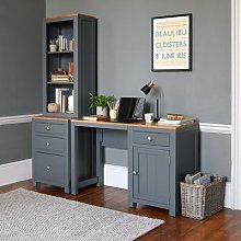 Chalford Dark Grey Desk with Bookcase and Filing