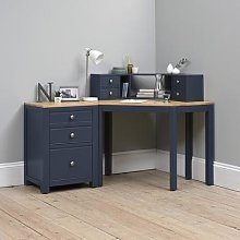 Chalford Inky Blue Corner Desk with Topper and