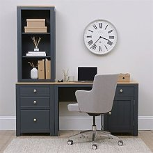 Chalford Inky Blue Desk with Bookcase and Filing
