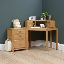 Chalford Oak Corner Desk with Topper and Filing