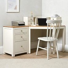 Chalford Warm White Corner Desk with Topper and