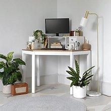 Chalford Warm White Corner Desk with Topper