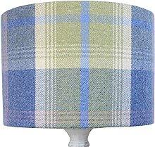 Chambray Blue Balmoral Tartan Check Drum Lampshade