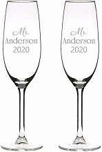 Champagne 2 Glass Flutes, Personalised with