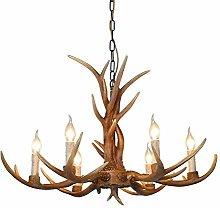 Chandelier 6 Lights Deer Horn Hanging Lamp Antler