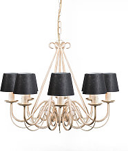 Chandelier Aged White with Black Linen Clamp